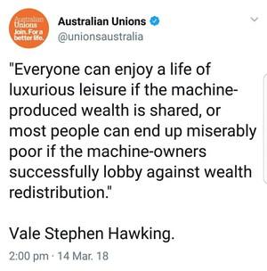 Stephen Hawking on automation