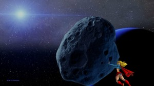 Supergirl achtergrond - Moves An Asteroid achtergrond