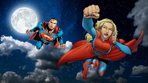 Supergirl & Superman kertas dinding - At Night 1