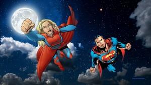 Supergirl & Супермен Обои - At Night
