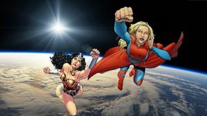 Wonder Woman & Supergirl hình nền - In không gian 1