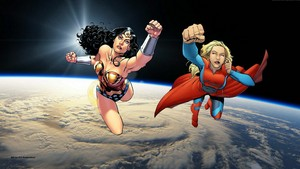 Wonder Woman & Supergirl kertas dinding - In angkasa