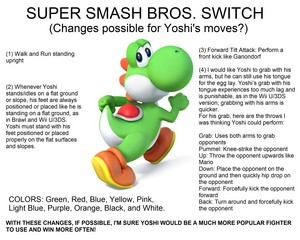 Yoshi (Super Smash Bros. Switch) sposta Changes