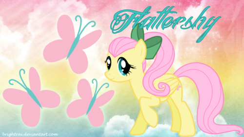 Fluttershy MLPFIM Wallpaper Titled Ponytail