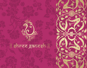 indian floral ornament with ピンク background vector 588506