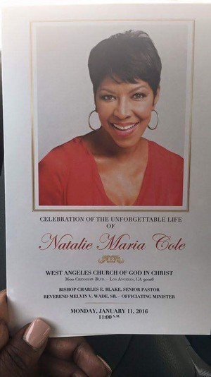 2016 Funeral Program For Natalie Cole