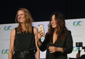 Amy Acker and Sarah Shahi at the Shoot Reunion Panel, ClexaCon 2018