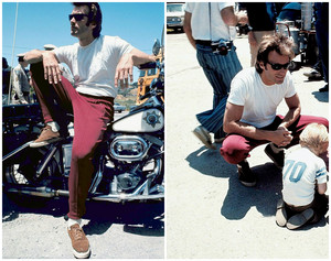 Clint Eastwood photographed with his son Kyle on the set of Dirty Harry (1971)