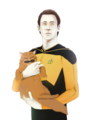 Data and Spot - star-trek-the-next-generation fan art