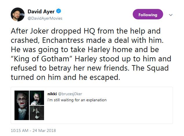 David Ayer explains the lost Joker scene.