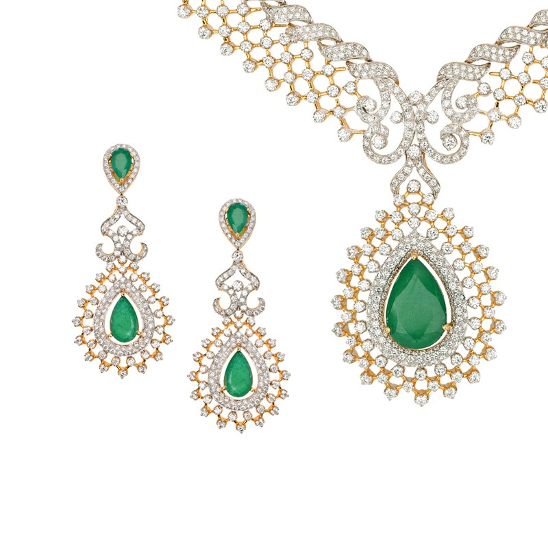 Yorkshire Rose Images Emerald Necklace And Earring Set Hd Wallpaper Background Photos