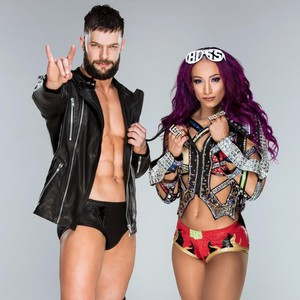 Finn Balor and Sasha Banks