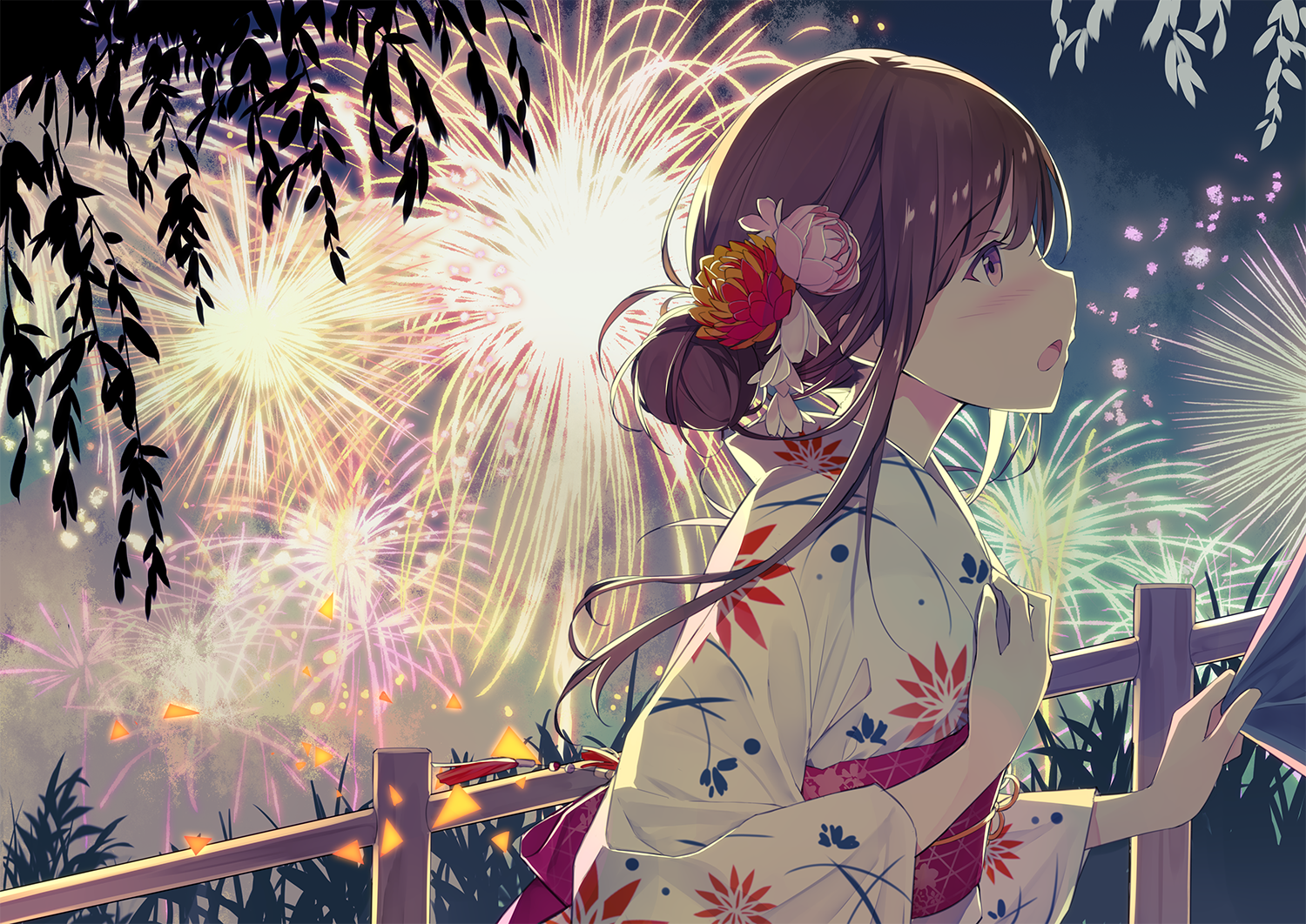 和服 girl in the fireworks night