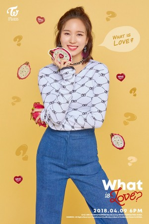 "Mina's teaser image for ""What is Love?"""