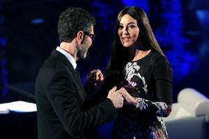 """Monica Bellucci on """"Che tempo che fa"""" TV montrer in Milan"""