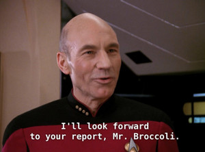 "Picard calls Barclay ""Mr. Broccoli"""