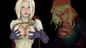 Power Girl vs Supergirl 1 kertas dinding
