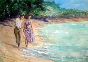 Romantic Stroll On The 바닷가, 비치