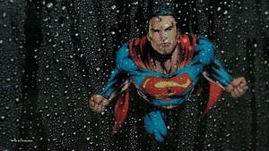 Супермен Обои Thru Wet Glass
