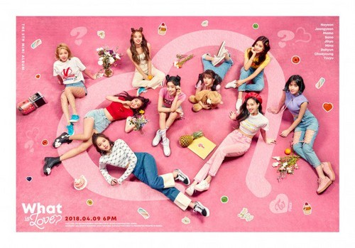 Twice (JYP Ent) দেওয়ালপত্র titled TWICE ask 'What Is Love?' with a teaser image