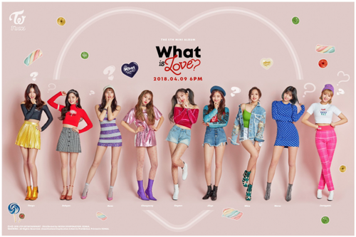 Twice (JYP Ent) achtergrond titled TWICE go funky in 'What Is Love?' group teaser