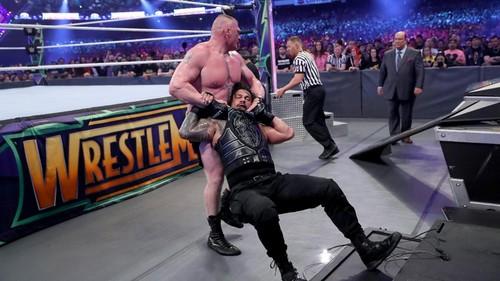 WWE wallpaper titled Wrestlemania 34 ~ Roman Reigns vs Brock Lesnar