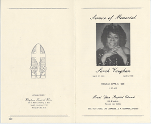 1990 Funeral Program For Sarah Vaughan