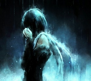 Angel crying in the rain