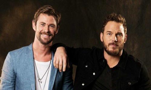 Avengers: Infinity War 1 & 2 壁纸 entitled Avengers Chris Hemsworth and Chris Pratt USA Today photoshoot
