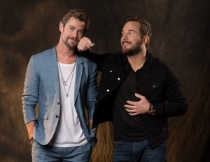 Avengers Chris Hemsworth and Chris Pratt USA Today photoshoot