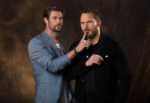 Avengers Chris Hemsworth and Chris Pratt USA Today photoshoot