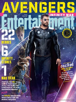 Avengers: Infinity War - Groot, Rocket and Thor Entertainment Weekly Cover