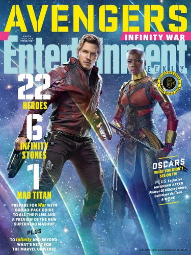 Avengers: Infinity War 1 & 2 壁纸 titled Avengers: Infinity War - Star-Lord and Okoye Entertainment Weekly Cover