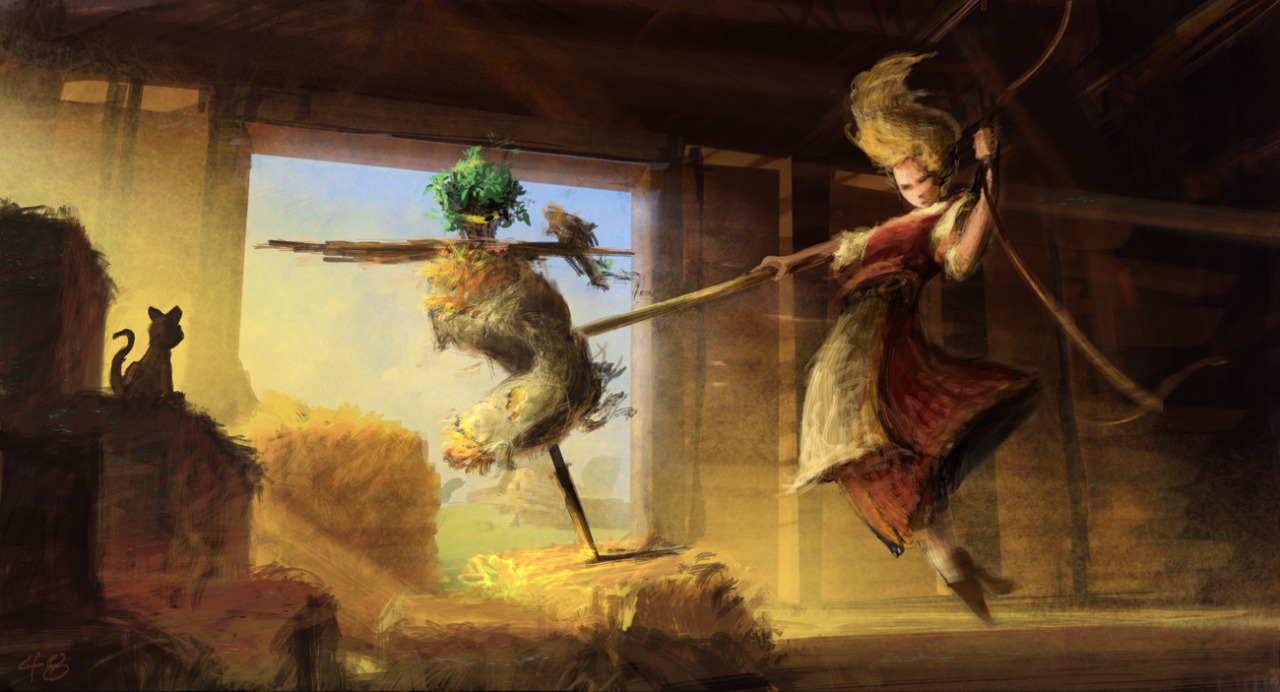 Barbie and the Three Musketeers concept art sa pamamagitan ng Walter P Martishius vs. Completed scenes