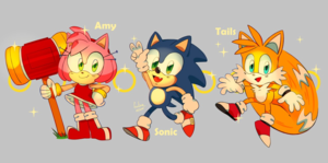 Chibi Sonic, Amy and Tails