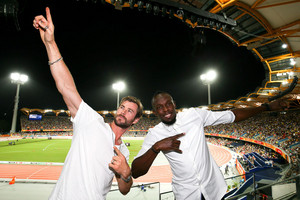 Chris and Olympic Medalist,Usain Bolt