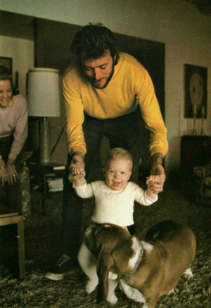 Clint Eastwood at home with his son Kyle and wife Maggie (1969)