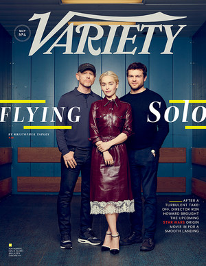 Emilia Clarke at Solo: A ster Wars Story Variety Cover with Ron Howard and Alden Ehrenreich