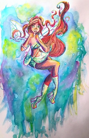 Layla Magic Winx Watercolor Art