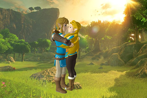 Link and Zelda Breath of the Wild Together XPS