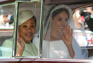 Meghan with her mom enroute to St George's Chapel