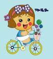 Miss La Sen riding bicycle