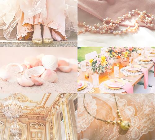 Disney-Prinzessin Hintergrund titled Mood Board - Ariel rosa dress