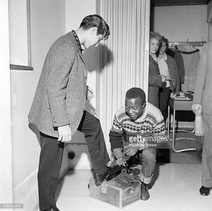 Paul Anka Getting His Shoes Shined