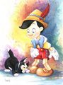 Pinocchio And Figaro - disney fan art