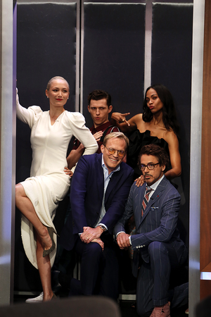 Pom Klementieff, Tom Holland, Zoe Saldana, Paul Bettany and Robert Downey Jr. on Jimmy Kimmel Live p