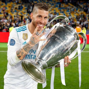 Sergio Ramos at the celebration of Real Madrid's 13th UEFA Champions League