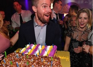 Stephen Amell, Emily Bett Rickards, and Friends celebrating his birthday early.