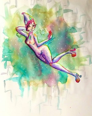 Tecna Magic Winx Watercolor Art