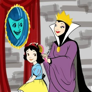 The evil Queen as a nice mom to child Snow White